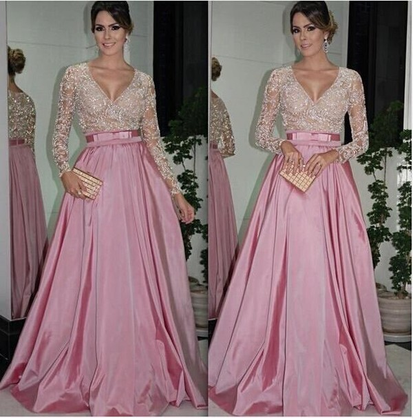 dress prom gown lace Beads long sleeve