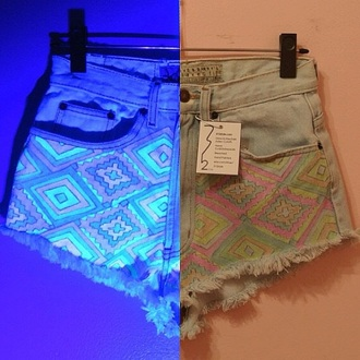 jeans hot pants shorts glow in the dark in the dark summer