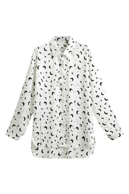 ROMWE | ROMWE Asymmetric Star & Moon Print White Shirt, The Latest Street Fashion