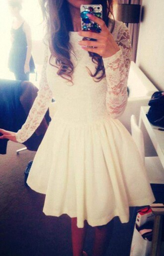 dress lace white cream off-white sleeves tight body spring dress