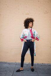 coat,kimono,jeans,top,mules