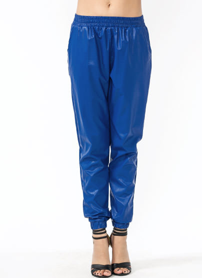GJ | Leather Or Not Track Pants $42.90 in BLACK BURGUNDY ROYAL - Faux Leather | GoJane.com