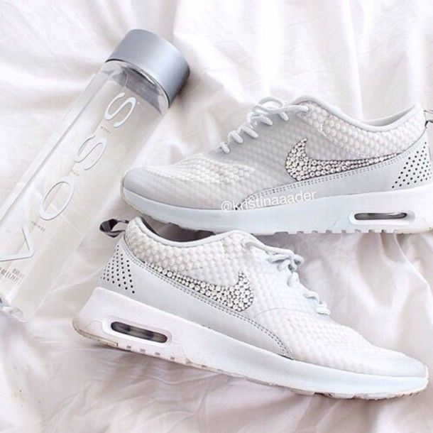 super popular f469e 01462 shoes nike running shoes diamonds nike shoes fashion nike air max 1 white  crystal skwarovski running