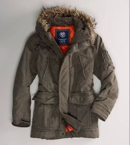 New american eagle military style utility parka jacket coat w fur hood sz m