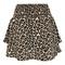 Shirred tiered leopard mini skirt - true leopard