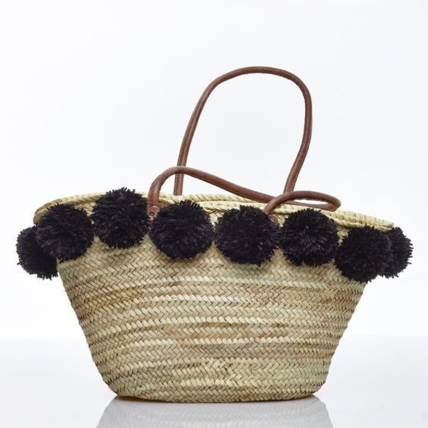 Bag: pom poms, pompom bag, basket bag, basket tote, beach bag ...