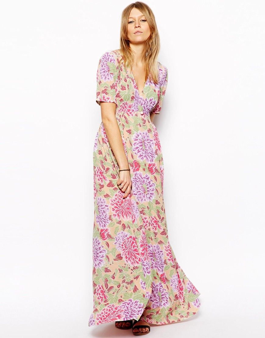 ASOS Maxi Tea Dress In Pastel Floral Print at asos.com