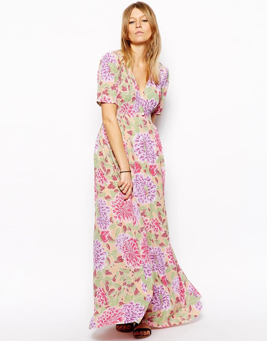 ASOS Maxi Tea Dress In Pastel Floral Print at asos.com