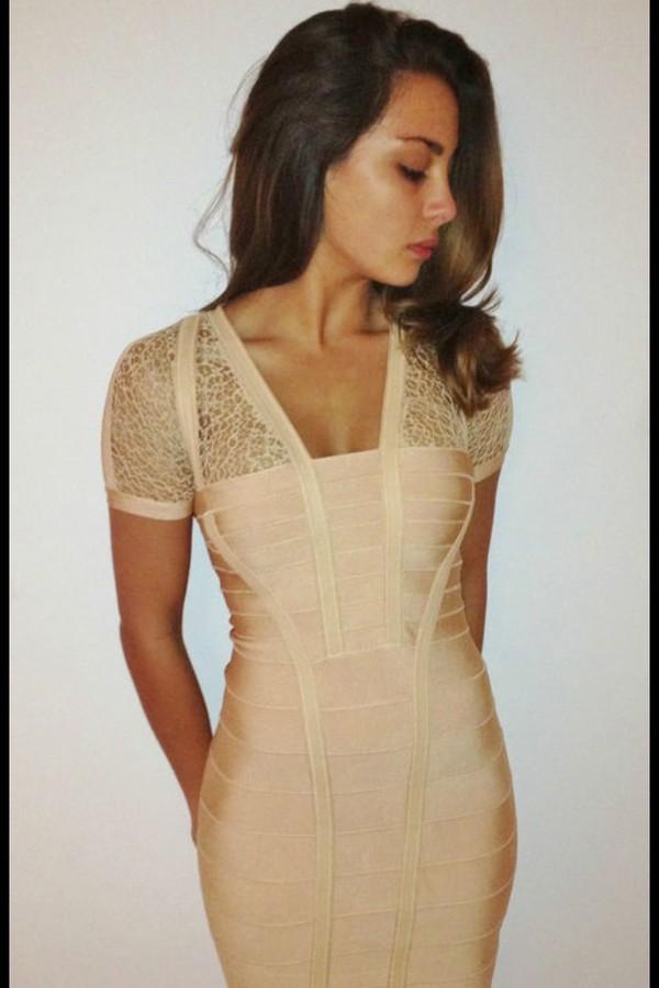 dress nude mesh bandage dress