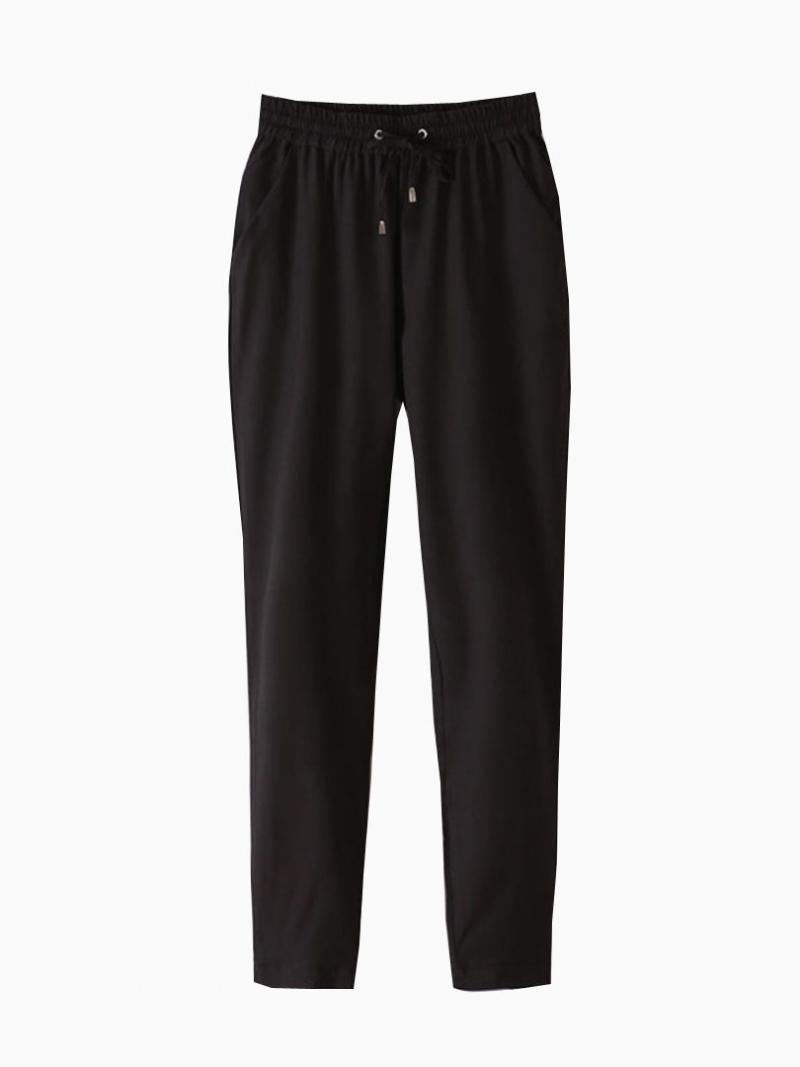 Black Elastic Waist Harem Pants