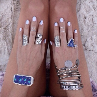 jewels ring jewelry bracelets silver purple ring triangle beach blue stone blue wedding accessory indie hipster good old