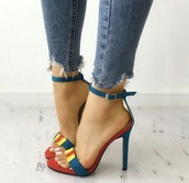 shoes,heels,high heels,high heel sandals,blue,red,blue high heels,yellow,tricolor sandal,summer,spring,summer shoes,high heel,high heel pumps
