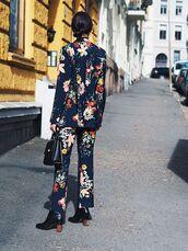 pants,tumblr,floral blazer,printed blazer,cropped pants,floral,floral pants,blazer,matching set,boots,ankle boots,bag,black bag,two piece pantsuits,power suit