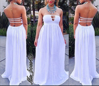 hollow out maxi dress white dress sexy dress dress cute dress strapless evening outfits long dress clubwear fashion