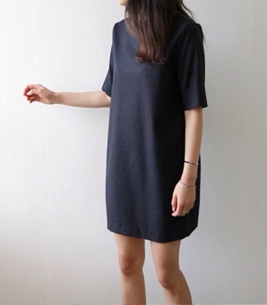 dress grey dress little black dress t-shirt dress black dress minimalist minimalist jewelry cute dress t-shirt big t shirt black
