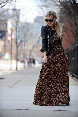 dress printed maxi leopard print maxi chain strap bag shoulder strap bag exotic print maxi dress leopard print leather jacket black leather jacket quilted bag black sunglasses