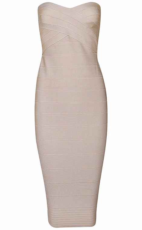 Bandeau Midi Bandage Dress Nude