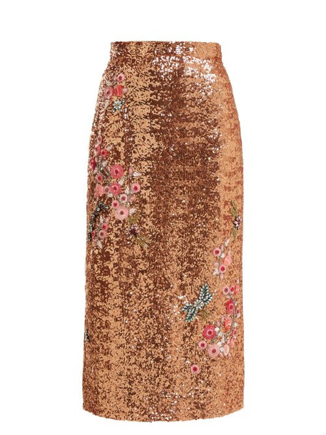 Erdem - Sacha Sequined Skirt - Womens - Pink Multi