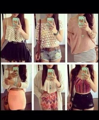 skirt cute aztec stripes denim shorts lace polka dots