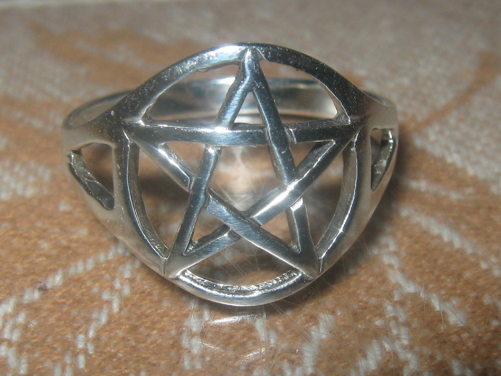 New polished 925 sterling silver wiccan pagan pentagram ring size 10