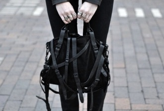 bag leather black grunge women's