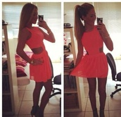 dress,ponytail,pink dress,cut-out,cut-out dress,summer,style,cute,iphone,neon,neon dress,cut dress,skater dress,skater skirt,lace,short dress,casual,dressy,teen outfit,outfit,fashion,heels,silk,tutu,silk dress,watch,gold,necklace,orange dress,summer dress,tulle skirt