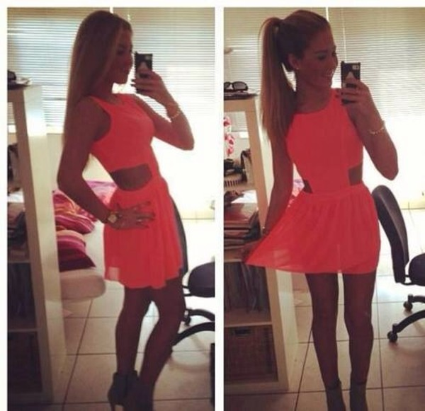 dress ponytail pink dress cut-out cut-out dress summer style cute iphone neon neon dress cut dress skater dress skater skirt lace short dress casual dressy teen outfit outfit fashion heels silk tutu silk dress watch gold necklace orange dress summer dress tulle skirt