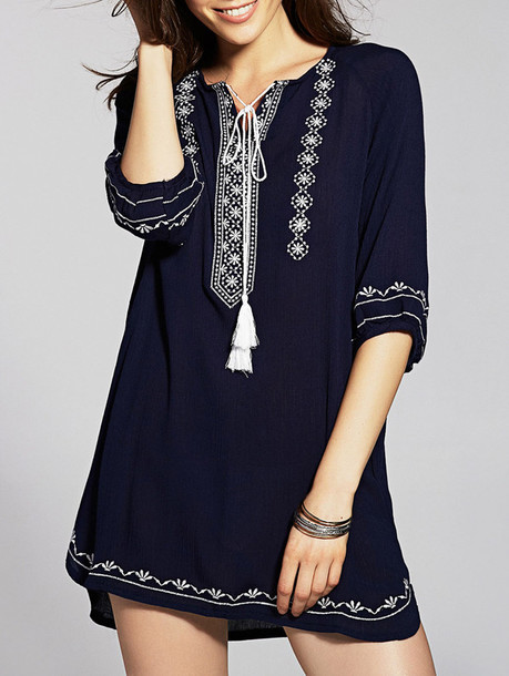 dress zaful blue boho boho chic casual fashion trendy style embroidered fall outfits