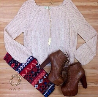 sweater leggings clothes white sweater brown shoes high heels