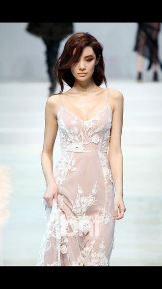 floral white dress tan dress spaghetti strap maxi dress prom dress prom floral dress