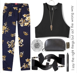 pants floral loosepants navy summer outfits feathers gorgeous blue black platform shoes crop tops printed pants
