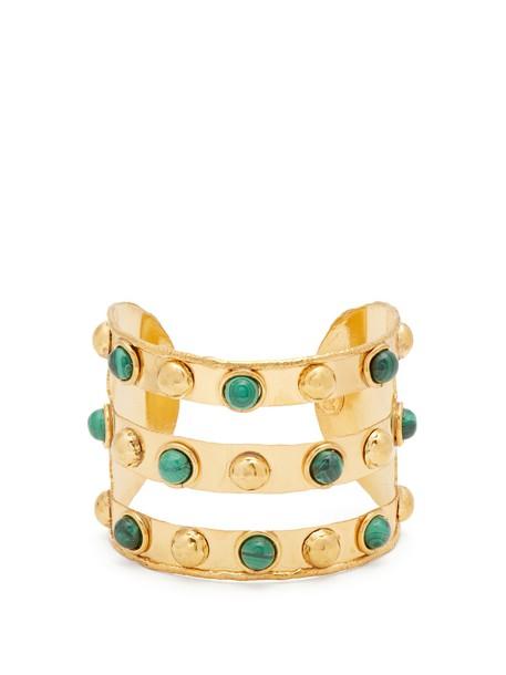 Sylvia Toledano cuff gold green jewels
