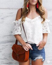 top,tumblr,white top,white lace top,lace top,bag,brown bag,shorts,denim,denim shorts,earrings,accent earrings,jewels