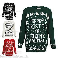 Mens Ladies Merry Christmas Ya Filthy Animal Fairisle Winter Sweater Jumper Top | eBay