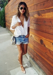 sincerely jules,blogger,shirt,shorts,bag,shoes,white shirt,strappy flats,denim shorts,button up,grey bag,lace up,lace up flats