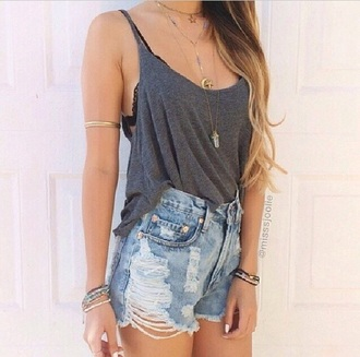 top grey tank top grey tank top shorts denim shorts denim high waisted shorts torn clothes jewels necklace gold bracelets arm bracelet sexy girly destroyed underwear