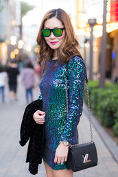 dress,sequins,sequin dress,blue dress,mini dress,party dress,party outfits,jacket,black jacket,bag,black bag,chain bag,louis vuitton,louis vuitton iphone 6 6s case,sunglasses,mirrored sunglasses