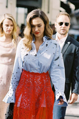 vanessa jackman blogger shirt skirt jewels blue shirt red skirt jessica alba lace skirt