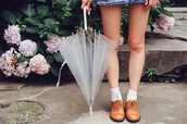 shoes,oxfords,flats,brown,leather,socks,jewels,clear,umbrella,white,tumblr,Accessory,home accessory,fashion,style,cute,cool,transparent,fall outfits,rainydays,it girl shop