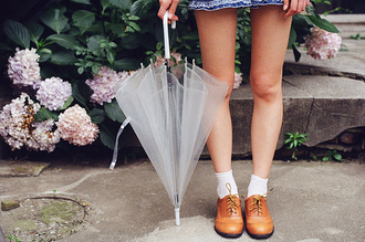 shoes oxfords flats brown leather socks jewels clear umbrella white tumblr accessory home accessory fashion style cute cool transparent fall outfits rainydays it girl shop
