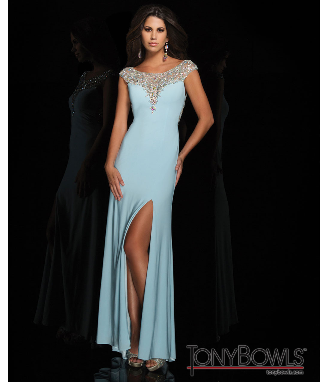 Bowls 2014 Prom Dresses - Light Blue Sequin Cap Sleeve Open Back ...
