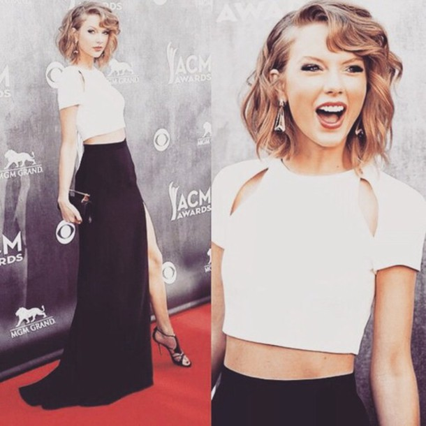 taylor swift black skirt slit skirt white top