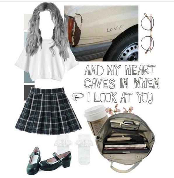 skirt plaid plaid skirt sweet