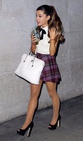 skirt,purple plaid skirt,plaid skirt,purple skirt,ariana grande