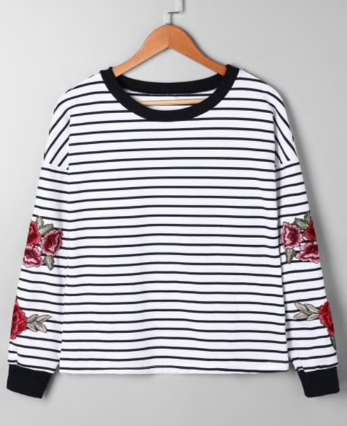 blouse embroidered girly black black and white white stripes striped top floral