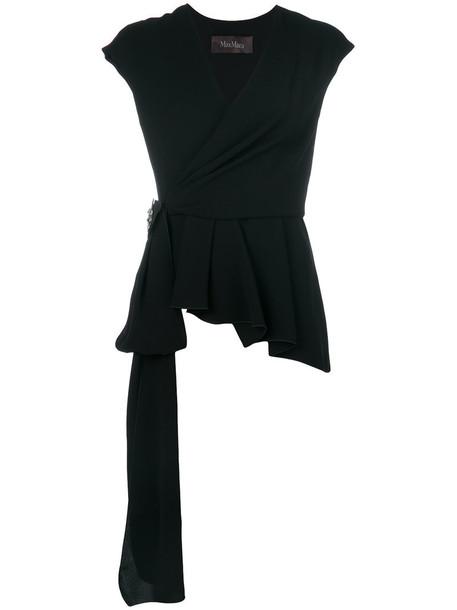 Max Mara - wrap top - women - Triacetate/Polyester/Silk - 42, Black, Triacetate/Polyester/Silk