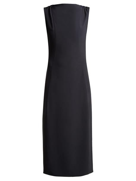 RAEY Cowl-neck crepe midi dress in charcoal