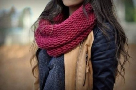 style red jacket scarf cold winter brown black burgundy autumn