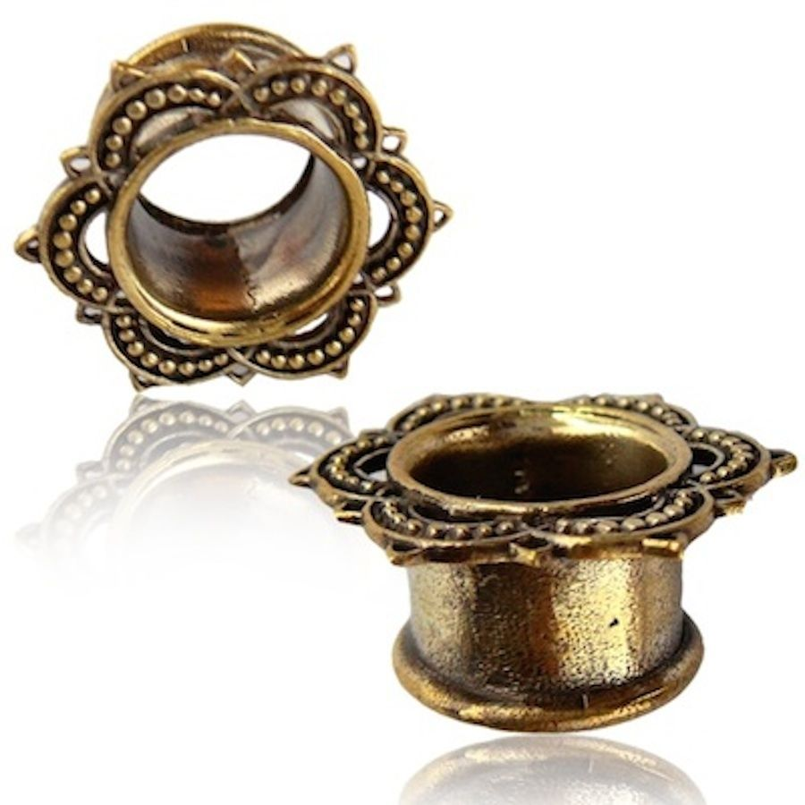 Pair antiqued lotus flower brass tunnels plugs tribal gauges plugs pair antiqued lotus flower brass tunnels plugs tribal gauges plugs plug gauge mightylinksfo