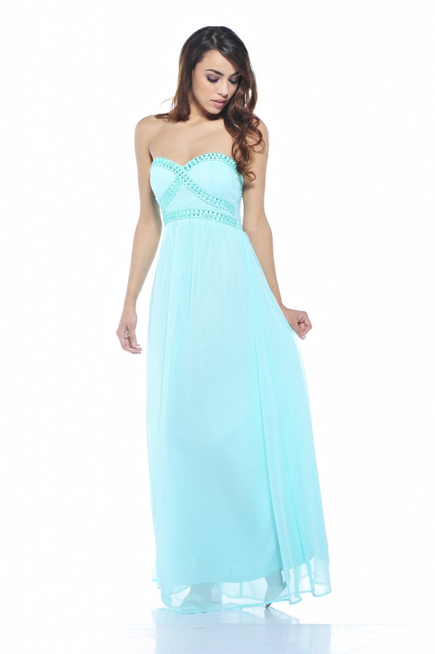 Aqua strapless chiffon maxi dress